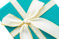 Close up blue gift box. Royalty Free Stock Photo