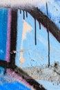 Close Up Of Blue Graffiti And ...
