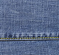 Close-up of the blue jeans cloth Royalty Free Stock Image