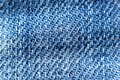 Close up of blue jeans fabric