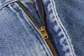 Close-up blue jeans with zipper. Royalty Free Stock Photo