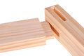 Close-up of boards with woodworking tenon inserted into a mortis Royalty Free Stock Photo