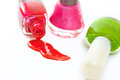 Close up of bottles with nail polish on white background Royalty Free Stock Photos