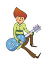 Close up of boy is holding a guitar Royalty Free Stock Photos
