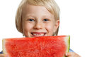 Close up of boy holding water melon a cute happy smiling a big juicy slice watermelon isolated on white Stock Image