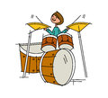Close up of boy is playing drums Stock Image