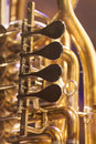 Close up of brass instrument tube on a stage with nice light Stock Photos
