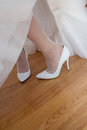 Close-up of bridal shoes. An image of a bride with her wedding shoes.