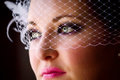 Close Up Bride Birdcage Veil Royalty Free Stock Photo
