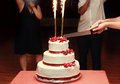 Close up of bride and groom cutting wedding cake fireworks Royalty Free Stock Photos