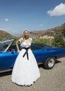 Close up of Bride next to wedding car Royalty Free Stock Photo