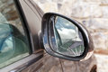 Close up broken rearview mirror modern black car Royalty Free Stock Photos