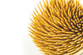 Close up brown bamboo toothpicks on white background top view Royalty Free Stock Photos