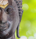 Close up buddha portrait and abtract background Royalty Free Stock Photography