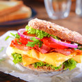 Close up Burger with Bacon and Cheese Royalty Free Stock Photo