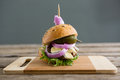 Close up of burger with cottage cheese and jalapeno pepper Royalty Free Stock Photo