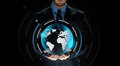 Close up of businessman with earth projection