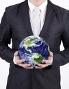 Close up businessman hold globe isolated holding a over white background confident asian holding the planet earth over Stock Photos