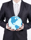Close up businessman hold world globe holding a on white background Royalty Free Stock Photography