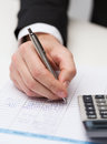 Close up of businessman with papers and calculator business office concept Royalty Free Stock Photography