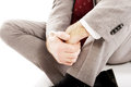 Close up businessman sitting on the floor Stock Image