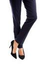 Close up on businesswoman slim legs in high heels Stock Photos