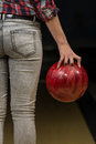 Close up of a butt next to a bowling ball ass Royalty Free Stock Image