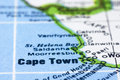 Close up of Cape town on map, south africa Royalty Free Stock Photos