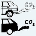 Close up of a car s fumes emissions in the traffic jam isolated on blue background Royalty Free Stock Images