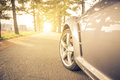 Close up on a car tyre while drifting on a street Royalty Free Stock Photo