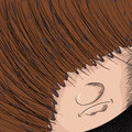 Close up cartoon person hair covering his eyes Royalty Free Stock Image