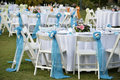 Close up catering table set service with silverware napkin and glass at restaurant before party and wedding Stock Image