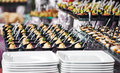 Close up catering table set services background with snacks and food in restaurant Stock Image