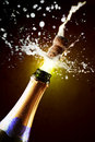 Close up of champagne cork popping Royalty Free Stock Photography
