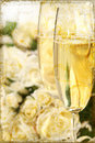Close-up of champagne glasses vintage look Stock Images