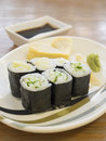Close up cheap sushi with egg roll heart shape bangkok thailand aug Stock Images