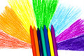 Close up children's wax pencils and semicircle Royalty Free Stock Photos