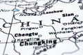 Close up of China on map Royalty Free Stock Images