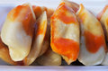 Close up of Chines dumpling inside takeaway bo Royalty Free Stock Photo