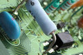 Close-up chip on green motherboard Royalty Free Stock Image