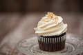 Close Up Chocolate Cupcake With Vanilla Frosting Royalty Free Stock Photo