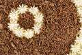 Close up of a chocolate shavings and cream from cake Stock Image