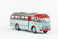 Close up of classic vintage metallic bus, scale model. Royalty Free Stock Photo
