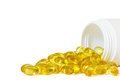 Close up cod liver oil or fish oil capsules Royalty Free Stock Photo