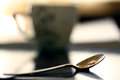 Close up cofe spoon with soft warm background it s cofe time conceptual Stock Image