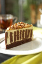 Close up coffee cake and white cream Royalty Free Stock Photo