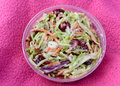 Close up with coleslaw of in a to go container Royalty Free Stock Images