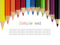Close up of color pencils isolated on white background Royalty Free Stock Photos