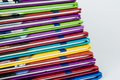 Close up of colorful children encyclopedia foredges diagonal abstract Stock Image