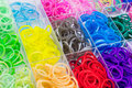 Close up colorful of elastic loom bands in box Stock Image